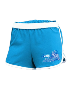 IHSA State Finals Ladies Cheer Shorts (Blue w/ White and Navy print)