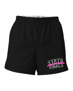 IHSA State Finals Ladies Cheer Shorts (Black w/ Pink & White print)