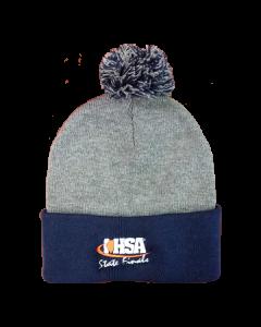 IHSA State Finals POM POM Beanie (Heather Grey/Navy)