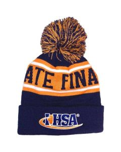 IHSA State Finals POM POM Beanie (Navy, Orange, White)