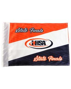 IHSA Golf Flag (White w/ Navy and Orange)