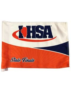 IHSA Golf Flag (White w/ Royal and Orange)