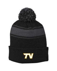 TVMS Track and Field Stripe Pom Pom Beanie