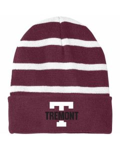 Tremont Staff Striped Beanie with Solid Band